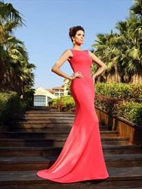 Simple Watermelon Sleeveless Open Back Sheath Prom Dress With Train