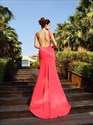 Simple Watermelon Sleeveless Open Back Sheath Prom Dress With Train