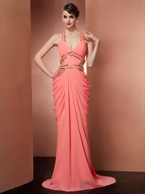 Coral Ruched Cross Back Strap Chiffon Prom Dress With Crystal