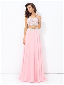 Pink V-Neck Beaded Sleeveless Two Piece Prom Dresses With Applique