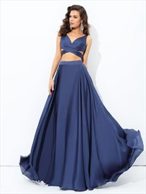 Navy Blue Side Cutout Two Piece Long Prom Dress With Illusion Bodice