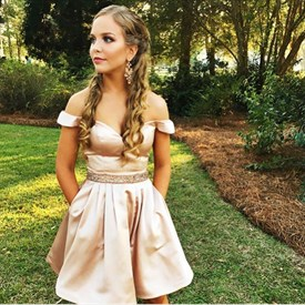 Off The Shoulder Beaded Satin Short Homecoming Dresses With Pockets