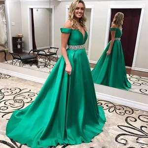Emerald Green Off The Shoulder Prom Dress With Beaded Waist And Train
