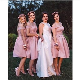 Simple A Line Pink Sleeveless Short Satin Bridesmaid Dresses