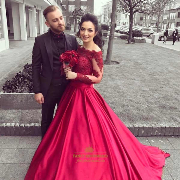 Bateau Neck Sheer Long Sleeve Prom Dress With Lace Applique And Train