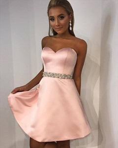A Line Pink Sweetheart Neckline Beaded Satin Short Homecoming Dresses