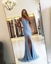Sky Blue Deep V Neck Backless Sheath Chiffon Prom Dress With Split