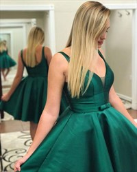 Simple A Line Green V Neck Sleeveless Satin Short Prom Dresses