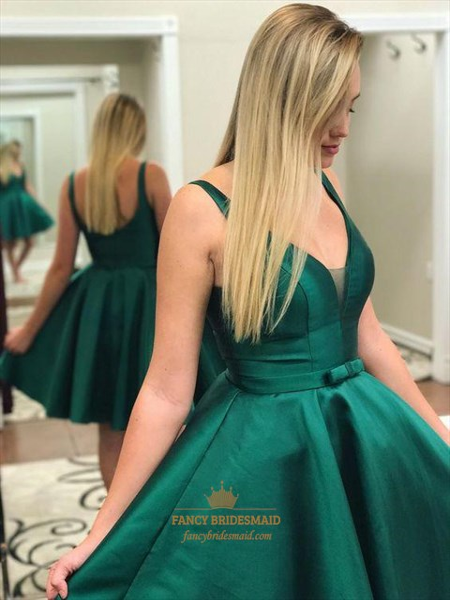 Simple A Line Green V Neck Sleeveless Satin Short Prom Dresses