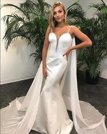 White Spaghetti Strap Sheath Mermaid Satin Prom Dress With Cape