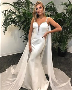 White Spaghetti Strap Sheath Mermaid Satin Prom Dress With Cape