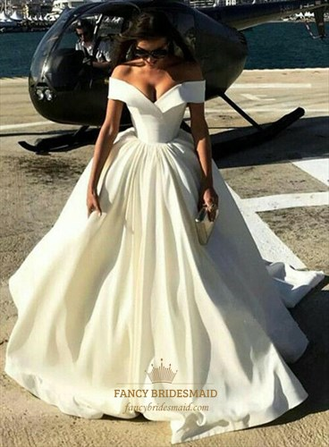 White Off The Shoulder Sleeveless Ruched Waist Ball Gown Prom Dress