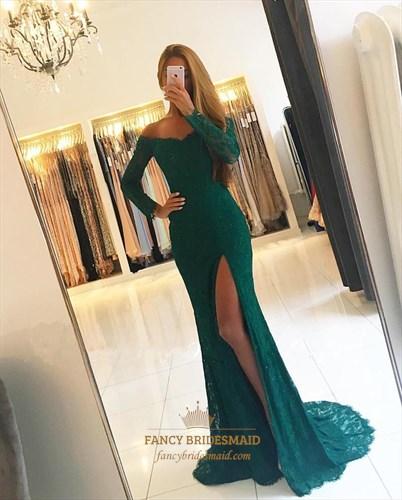 Elegant Dark Green Long Sleeve Lace Overlay Prom Dress With Split