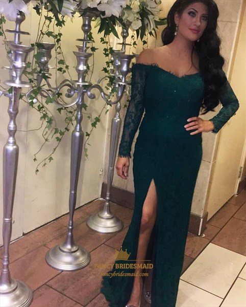 Elegant Dark Green Long Sleeve Lace Overlay Prom Dress With Split