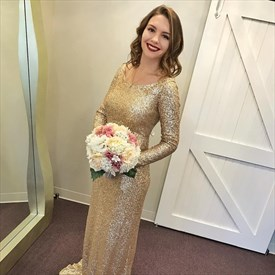 Gold Jewel Neck Long Sleeve Sheath Floor Length Sequin Prom Dress