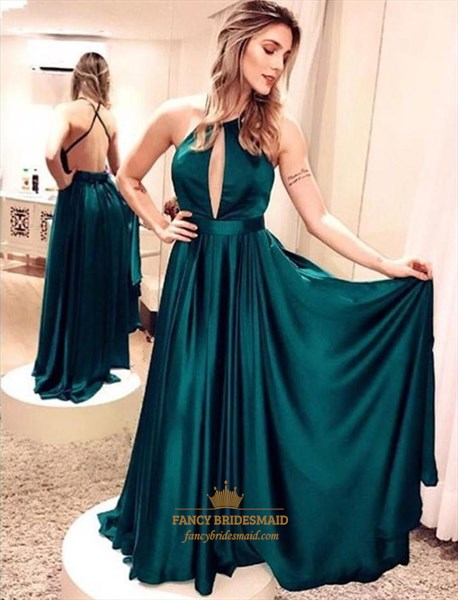 Emerald Green Halter Keyhole Open Back Pleated Satin Maxi Prom Dress