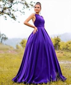 Purple Bateau Neckline Sleeveless Backless Ball Gown Satin Prom Dress