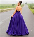 Purple Bateau Neckline Sleeveless Backless Ball Gown Satin Prom Dress