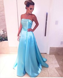 Simple A Line Light Blue Strapless Long Satin Prom Dress With Bow