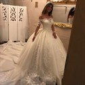 Off The Shoulder Long Sleeve Ball Gown Wedding Dress With Applique