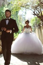 Illusion Neckline Long Sleeve Beaded Keyhole Ball Gown Wedding Dress