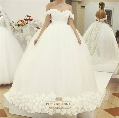 White Sleeveless Beaded Tulle Ball Gown Wedding Dress With Flowers