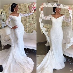 White V Neck Long Sleeve Sheath Wedding Dress With Cape And Train