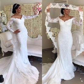 White V Neck Long Sleeve Sheath Wedding Dress With Cape And Train