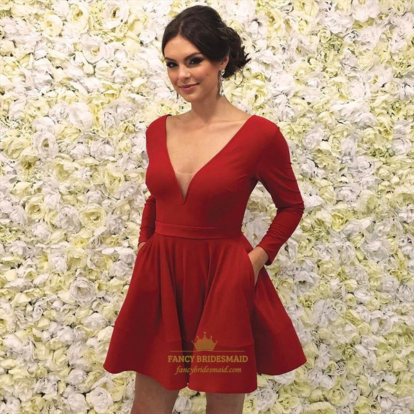 A Line Red V Neck Long Sleeve Short Prom Dresses With Pockets