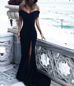Black Off The Shoulder Sheath Chiffon Prom Dress With Split And Train