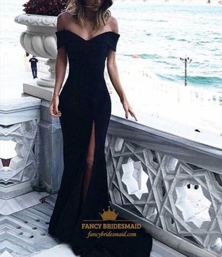 Black Off The Shoulder Sheath Chiffon Prom Dress With Split And Train
