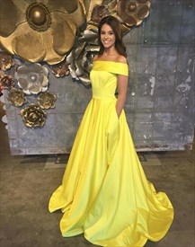 Yellow Off The Shoulder Sleeveless Satin Prom Dress With Pockets