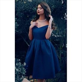 Simple A Line Navy Blue Off The Shoulder Sleeveless Satin Short Dress