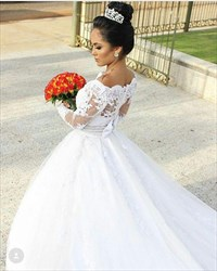 Off The Shoulder Long Sleeve Long Train Wedding Dresses With Belt
