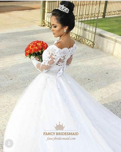 Off The Shoulder Long Sleeve Long Train Wedding Dresses With Belt
