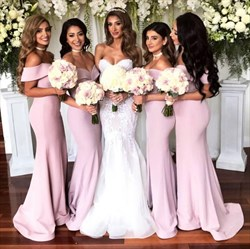 Pink Off The shoulder Sleeveless Sheath Satin Bridesmaid Dresses