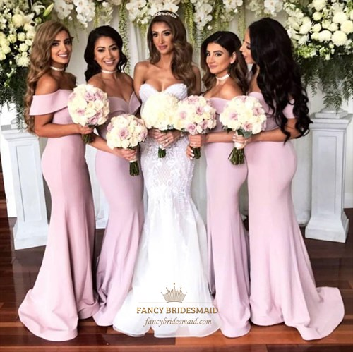 Pink Off The shoulder Sleeveless Sheath Satin Bridesmaid Dresses