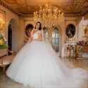 Sweetheart Cap Sleeve Beaded Ball Gown Wedding Dress With Long Train