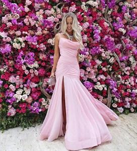 Spaghetti Strap Ruched Bodice Sheath Chiffon Prom Dress With Split
