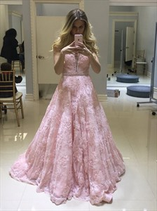 A Line Pink V Neck Sleeveless Beaded Prom Dress With Lace Applique