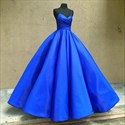 Elegant Royal Blue A Line Spaghetti Strap Ruched Ball Gown Prom Dress