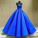 Elegant Royal Blue A Line Spaghetti Strap Ruched Ball Gown Prom Dress