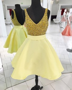 Yellow V Neck Beaded Open Back Satin Short Dress With Sequin Top