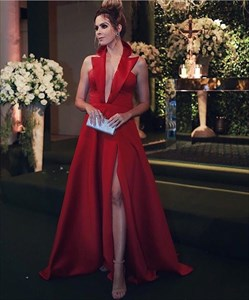 Red Deep V Neck Sleeveless Satin Prom Dress With Collar And Split