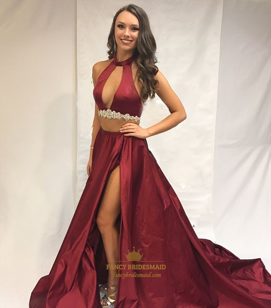 Burgundy Halter Neck Keyhole Beaded Two Piece Prom Dress With Split