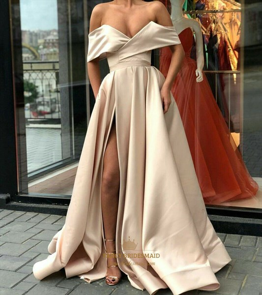 Champagne Off The Shoulder Sleeveless Satin Prom Dress With Split