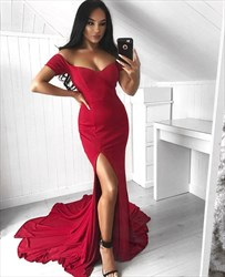 Red Sweetheart Short Sleeve Mermaid Prom Dress With Split And Train