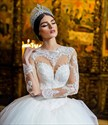 Ivory Jewel Long Sleeve Long Train Ball Gown Tulle Wedding Dress