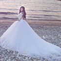 Ivory Jewel Long Sleeve Long Train Ball Gown Tulle Wedding Dress