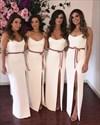 Spaghetti Strap Square Neck Sheath Satin Bridesmaid Dresses With Sash